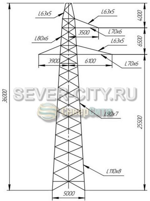 Опора П220-3Т+5 чертеж